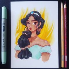 I fixed Jasmine  #sassynose *  *  *  *  #art #drawing #sketch #jasmine #aladdin #disney #princess #disneyprincess #copicmarkers #copicmultiliner #prismacolor #prismacolorpremier #markers #markerdrawing #traditionalart