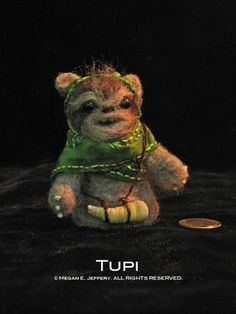"""One of the Ewok finger puppets I made for the group show """"Stitch Wars Strikes Back!"""""""