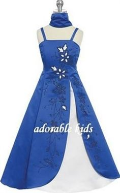 Royal Blue and Silver Organza Flower Girl Dress | Tidbits of ...