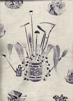 1939. British illustrator Eric Ravilious' watercolor design for Wedgwood's gardener's implements series.