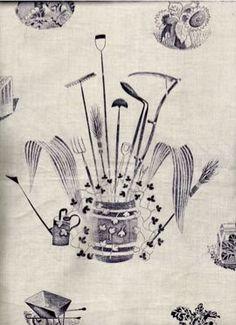 1939. British illustrator Eric Ravilious' watercolor design for Wedgwood's gardener's implements series.