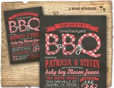 Co-ed Baby Shower Barbecue Invitations                                                                                                                        Registry        ...