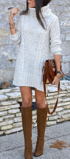 fall outfit ideas / gray knit dress + camel boots