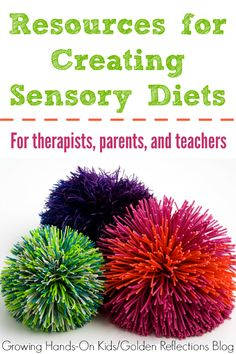 Looking for how to create a sensory diet? Here are some great resources for therapists, parents, and teachers on creating sensory diets.
