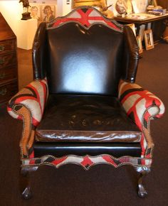 Leather Wing Chair with Antique Navajo by MedicineManGallery, $7200.00