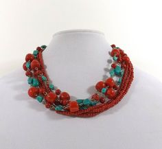 Turquoise and Faux Red Coral Multi Strand Necklace by KatsCache
