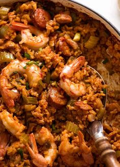 Jambalaya - one of THE most epic rice dishes in the world! This is an easy Jambalaya recipe filled with big New Orleans flavours. Everyone wolfs this down! Cajun Recipes, Rice Recipes, Seafood Recipes, Chicken Recipes, Cooking Recipes, Recipies, Haitian Recipes, Creole Recipes, Donut Recipes