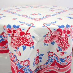 Love this old vintage tablecloth.