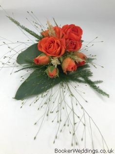 Pretty Orange Spray Rose Pin Corsage with grasses and wheat for Autumn Wedding at The Bluecoat Autumn Wedding, Our Wedding, Wedding Venues, Wedding Corsages, Vera Wang Wedding, Wrist Corsage, Spray Roses, Grasses, Flower Delivery