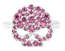 Skull rings come in a variety of styles mostly in stainless steel, these skull rings for women are really special who knew that these skull rings for girls could be so cute with so many rhinestones in bright colors. This pink rose ring is perfect for your fashion accessories. It is a great gift idea and also can be included in the overall fashion jewelry, by design and style.Other similar types of Gothic rings for women include the skull and crystals pendants.