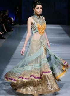 Light Blue & Beige Brown #Lehenga With Long Flared Top