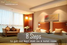 8 steps to get the best deals on a hotel room.  The tips, tricks and secrets to grabbing the best prices on hotel rooms.  These have saved us so much money over the years! Easy tips!