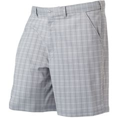 Big & Tall FILA Sport Golf Pine Valley Classic-Fit Plaid Shorts ($30) ❤ liked on Polyvore featuring men's fashion, men's clothing, silver, men's apparel, mens clothing, big & tall mens clothing and big and tall mens clothing
