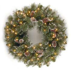 National Tree Co. Glittery Bristle Pine Pre-Lit 24'' Wreath