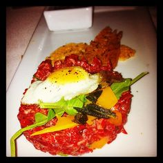 Steak Tartare with egg on top #TheFoundryonMelrose
