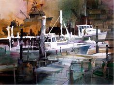 John T. Salminen (American, born 1945)  'Gloucester Boatyard', watercolor
