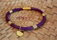 African Bracelet Aflé Bijoux  Purple Leather by AFLEBijoux on Etsy, €35.00  #aflebijoux #etsy #cuir