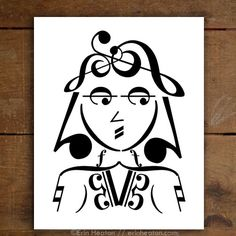 Right on! This groovy girl is made entirely of music notes and symbols. Archival quality fine art print is printed in deep black on bright white, acid-free, 100% cotton rag 64lb fine art paper, and is