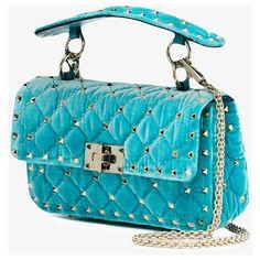 Valentino Blue quilted velvet Rockstud bag ($1,820) ❤ liked on Polyvore featuring bags, handbags, shoulder bags, shoulder bag purse, chain strap purse, quilted chain shoulder bag, quilted handbags and shoulder handbags