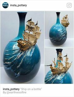 Ship on a bottle. tall thrown bottle and modelled ship from white earthenware clay. Masts sails and pennants from wood cloth and paper. The blue glaze on the bottle has a mother of pearl lustre. Ceramic Pottery, Pottery Art, Ceramic Art, Clay Projects, Clay Crafts, Earthenware Clay, Pottery Sculpture, Altered Bottles, Yarn Bowl