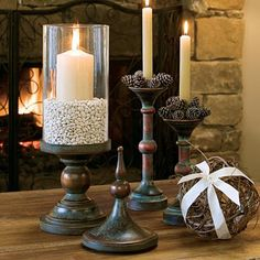 The special finish on our Renaissance Candleholders emulates the look of oxidized copper. Each candlestick fits either a taper or pillar candle. Set of two. Candles not included. Home Candles, Candle Lanterns, Pillar Candles, House Candle Holder, Candle Holders, Candle Set, Willow House, Candle Shades, Southern Living Homes