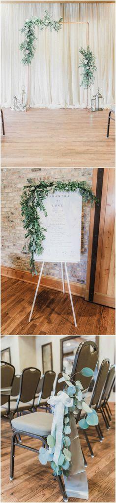 Wedding ceremony decor, modern, natural wedding ideas, eucalyptus, greenery, geometric wedding arbor, see more on borrowedandblue.com // Erik Anderson Photography