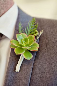 San Francisco Wedding // Modern Succulent boutonniere for the Groom #wedding #flowers