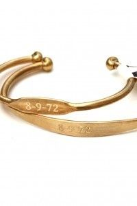 Personalized Brass Cuff Bracelet by Jook & Nona. Would love this with my babies' birthdates.