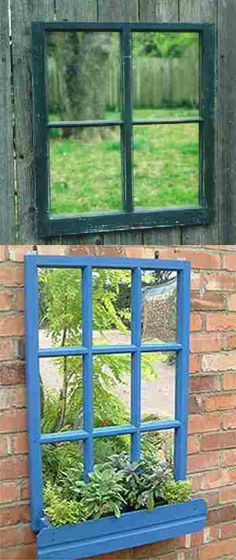 Mirrored windows & window-boxes to add character and colour to a garden wall or fence