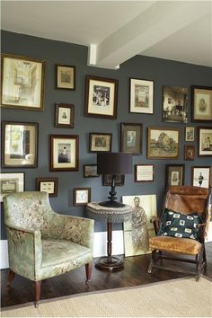 Farrow & Ball - lounge with Down Pipe Estate Emulsion on walls and Strong White Estate Eggshell/Emulsion on trim/ceiling Blue Grey Walls, Dark Walls, White Walls, Dark Grey Walls Living Room, Dark Painted Walls, Living Room Inspiration, Interior Inspiration, Home Interior, Interior Design