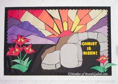 Beautiful Resurrection Bulletin Board for Sunday School or church. Catholic Bulletin Boards, Easter Bulletin Boards, Christian Bulletin Boards, Classroom Bulletin Boards, Kids Church Decor, Church Crafts, Church Ideas, Sunday School Classroom, Sunday School Crafts