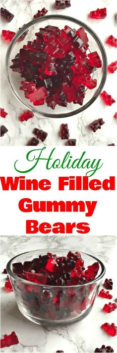 Holiday wine filled gummy gummies are wine gummy bears perfect holiday desserts, holiday drinks, Christmas desserts, Christmas drinks #HolidayDrinks #HolidayDessert #ChristmasDrinks #Cocktails #Candy #alcoholmarkers