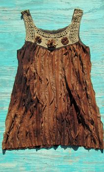 bohemian chic top tunic dress western hippie cowgirl flair at its best! Crochet detail on the Top with Rosettes Tye Dye effect