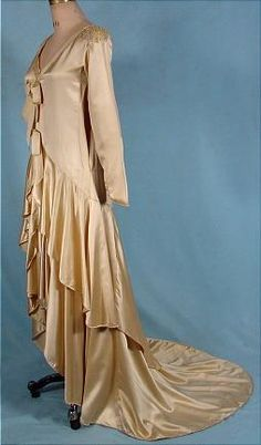 Circa 1923-1929 Wedding Gown of Ecru Silk Satin with Long Train, Bonwit Teller & Co.