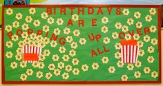 Aug/Sept 2012 Birthday Bulletin Board There's some new kids in town! Other folks have taken over the making of the boards for the school year.just sayin'! Bible Bulletin Boards, Birthday Bulletin Boards, Bulletin Board Borders, Preschool Bulletin Boards, Birthday Board, Birthday Ideas, Popcorn Theme Classroom, Classroom Fun, Preschool Arts And Crafts