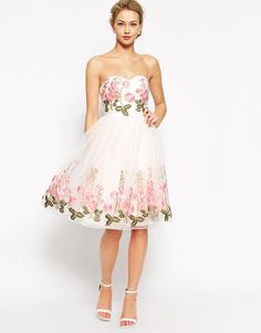 Chi+Chi+London+Bandeau+Full+Prom+Dress+With+Floral+Embroidery