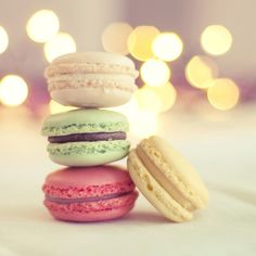 Macaroons in Pastel and Bokeh Background  5x5 Fine by mariakallin