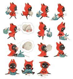 Le petit loup rouge by Amélie Fléchais  https://www.behance.net/amelieflechais