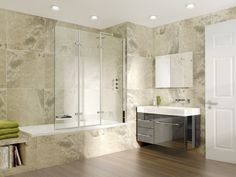 SP493 Triple Panel Bath Screen: 1500mm high and 1300mm wide / Made using 8mm pristine clear toughened glass / Polished chrome finish profiles / Built in wall adjustment