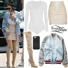 Kim Kardashian was spotted arriving at Nobu for lunch last week wearing an Alix Horatio Henley Bodysuit ($145.00), a Gucci Reversible Satin Bomber Jacket (Sold Out), Theperfext Leyla Lace-Up Skirt ($1,265.00), a LuMee iPhone 6s Plus Case ($59.95), Givenchy Square Sunglasses ($295.00) and Sergio Rossi Matrix Over-The-Knee Boots ($876.00 – wrong color). You can find similar skirts for less at Boohoo ($30.00) and Missguided ($42.50).