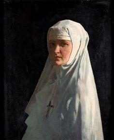 Yvonne Aubicq as a Nun by William Orpen