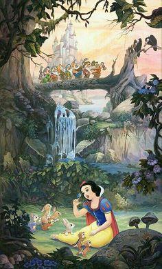 Disney Kunst, Arte Disney, Disney Art, Disney Princess Snow White, Snow White Disney, Disney Images, Disney Pictures, Disney Animation, Disney Cartoons