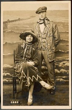 An poster sized print, approx (other products available) - A Pearl King and Queen with a seaside studio backdrop behind them - Image supplied by Mary Evans Prints Online - Poster printed in the USA Fine Art Prints, Framed Prints, Canvas Prints, Studio Backdrops, My Fair Lady, Folk Costume, Costumes, King Queen, Poplin Fabric