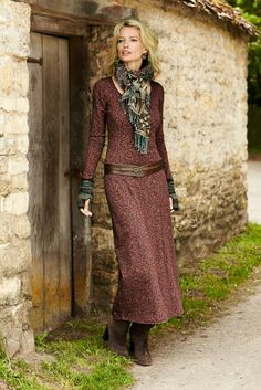 Moorish arabesques in dusty rose and burgundy scroll across this romantic pima and Lycra jersey dress. Effortless t-shirt dressing, with a fit-and-flare shape and scoop neck. Modest Outfits, Modest Fashion, Boho Fashion, Fall Outfits, Cute Outfits, Fashion Outfits, Womens Fashion, Dress Fashion, Ethno Style
