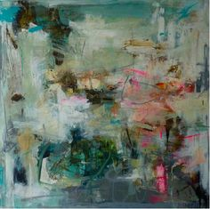 Abstract painting, turquoise, pink