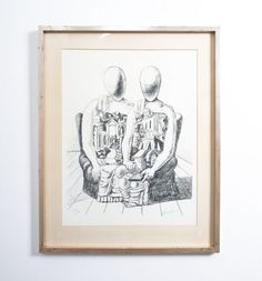 """Giorgio De Chirico Lithograph """"Gli Archeologico"""", Lithograph on Velin with paspartout and frame, edition size: lower left numbered Signed lower right. Measurements framed: x in ( 80 x 64 cm ) Mid Century Modern Design, Midcentury Modern, Vintage Antiques, Art Gallery, Fine Art, Black And White, Frame, Painting, Vienna"""