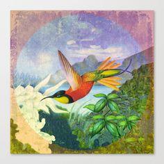 Victorian Bird Label 3 Canvas