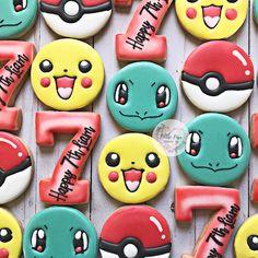 Pokemon Birthday Cake, Pokemon Party, Birthday Cookies, Zombie Birthday Parties, Twin Birthday Parties, 7th Birthday, Fancy Cookies, Cute Cookies, Sugar Cookies