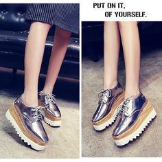 New Women Shiny Lace Up Flats Double Platform Oxfords Fashion Comfortable Shoes…
