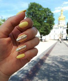 Летний маникюр, жёлтый маникюр, гель-лак, горошки на ногтях, yellow nails, manicure 2018, summertime